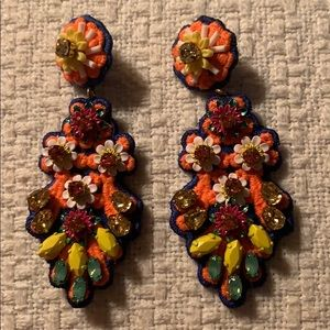 J Crew embroidered crystal earrings